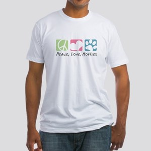Peace, Love, Morkies Fitted T-Shirt