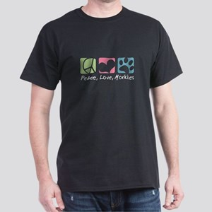 Peace, Love, Morkies Dark T-Shirt