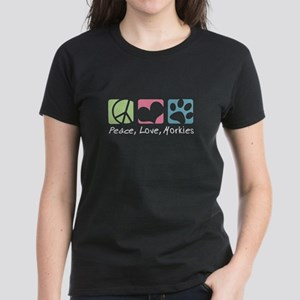Peace, Love, Morkies Women's Dark T-Shirt