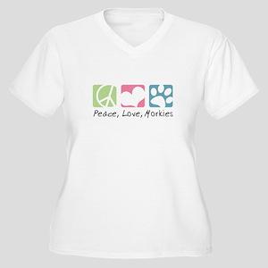 Peace, Love, Morkies Women's Plus Size V-Neck T-Sh