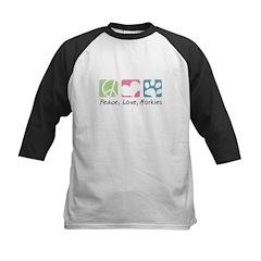 Peace, Love, Morkies Kids Baseball Jersey