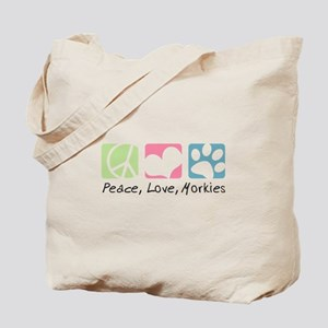 Peace, Love, Morkies Tote Bag