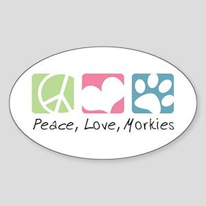 Peace, Love, Morkies Sticker (Oval)