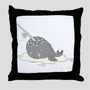 Sad Narwhal Throw Pillow
