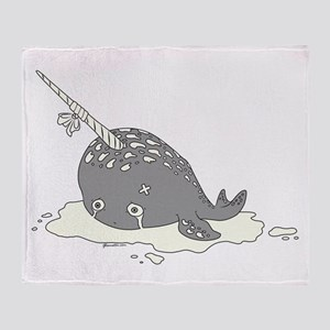 Sad Narwhal Throw Blanket