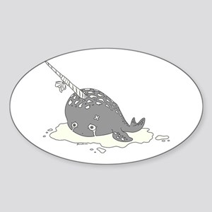 Sad Narwhal Sticker (Oval)