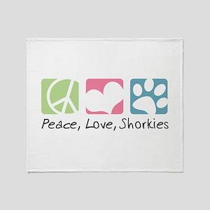 Peace, Love, Shorkies Throw Blanket