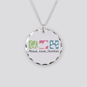 Peace, Love, Shorkies Necklace Circle Charm