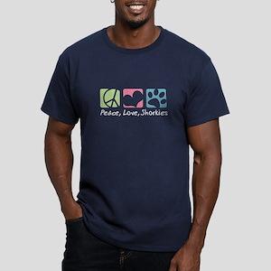Peace, Love, Shorkies Men's Fitted T-Shirt (dark)