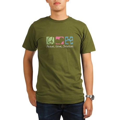 Peace, Love, Shorkies Organic Men's T-Shirt (dark)