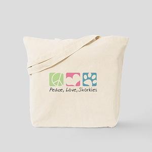 Peace, Love, Shorkies Tote Bag