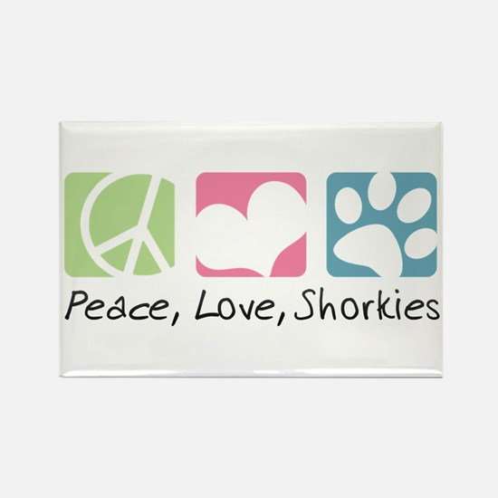 Peace, Love, Shorkies Rectangle Magnet