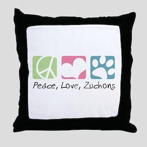 Peace, Love, Zuchons Throw Pillow