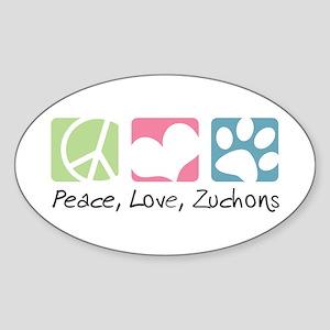 Peace, Love, Zuchons Sticker (Oval)
