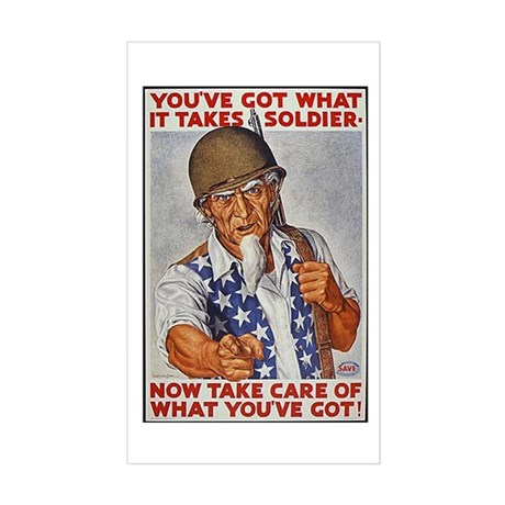 Uncle Sam American Soldier Rectangle Sticker