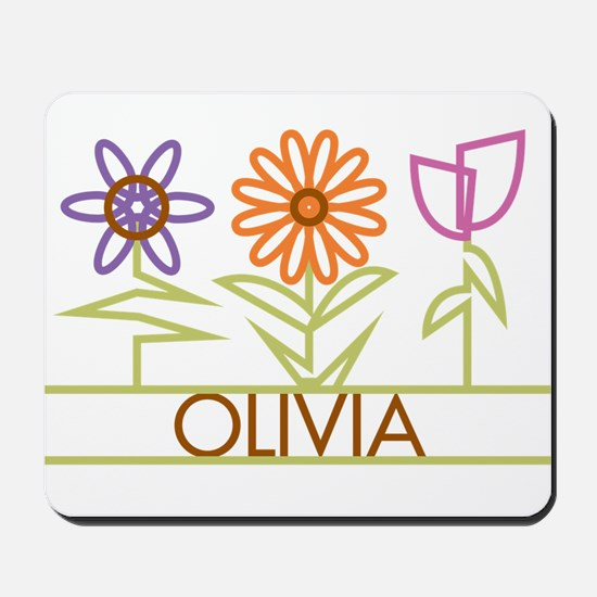 Olivia with cute flowers Mousepad