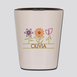 Olivia with cute flowers Shot Glass