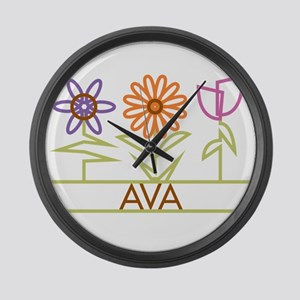 Ava with cute flowers Large Wall Clock