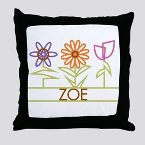 Zoe with cute flowers Throw Pillow