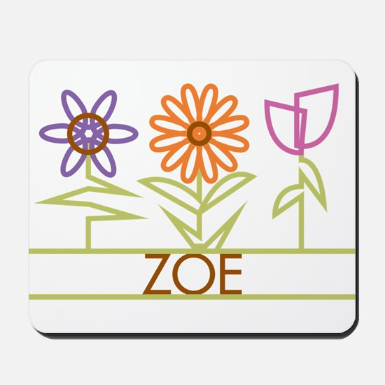 Zoe with cute flowers Mousepad