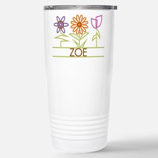 Zoe with cute flowers Stainless Steel Travel Mug