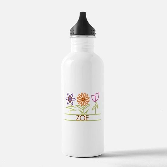 Zoe with cute flowers Water Bottle