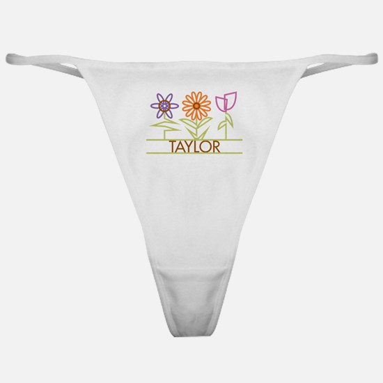 Taylor with cute flowers Classic Thong