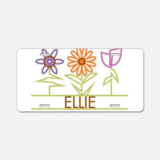Ellie with cute flowers Aluminum License Plate
