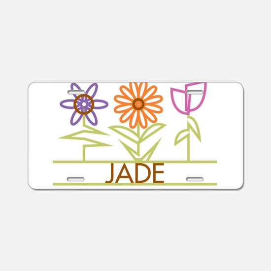 Jade with cute flowers Aluminum License Plate