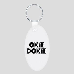 OkieDokie_Do_Black Aluminum Oval Keychain