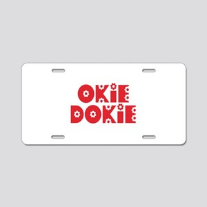 OkieDokie_Re_Red Aluminum License Plate