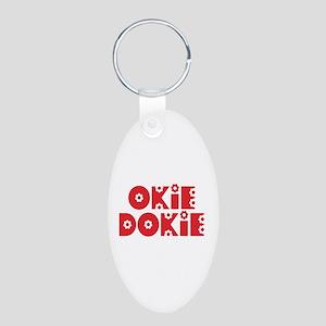 OkieDokie_Re_Red Aluminum Oval Keychain