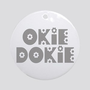 OkieDokie_Fa_Gray Ornament (Round)