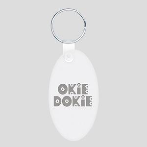 OkieDokie_Fa_Gray Aluminum Oval Keychain