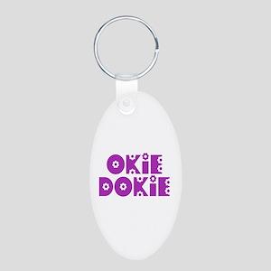 OkieDokie_So_Purple Aluminum Oval Keychain