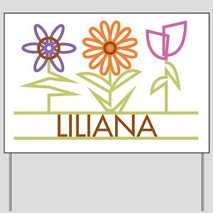 Liliana with cute flowers Yard Sign