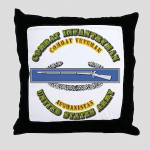 Army - CIB - 1st Award - Afghanistan Throw Pillow