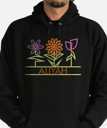 Aliyah with cute flowers Hoodie (dark)