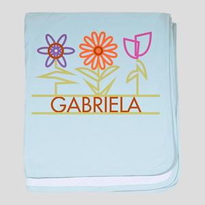 Gabriela with cute flowers baby blanket