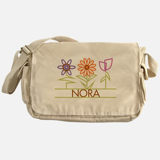 Nora with cute flowers Messenger Bag