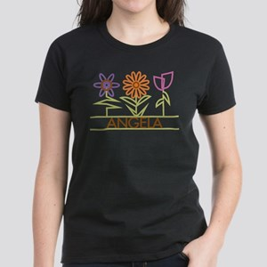 Angela with cute flowers Women's Dark T-Shirt