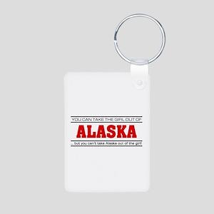'Girl From Alaska' Aluminum Photo Keychain