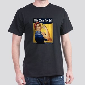 Rosie Riveter We Can Do It (Front) Black T-Shirt