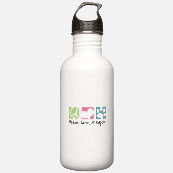 Peace, Love, Pomapoos Water Bottle
