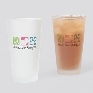 Peace, Love, Pomapoos Drinking Glass