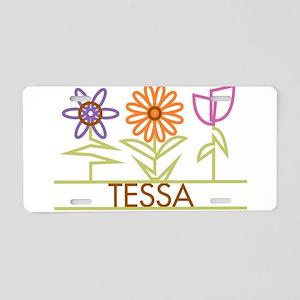 Tessa with cute flowers Aluminum License Plate