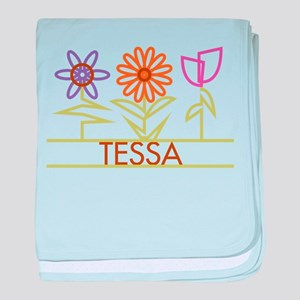 Tessa with cute flowers baby blanket