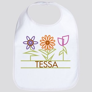 Tessa with cute flowers Bib