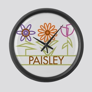 Paisley with cute flowers Large Wall Clock