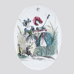 Cornflower and Bluebonnet Ornament (Oval)